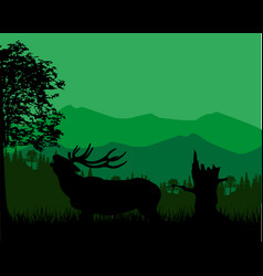 Silhouette of the deer in mountain vector