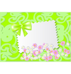 Paper card with wild flowers vector