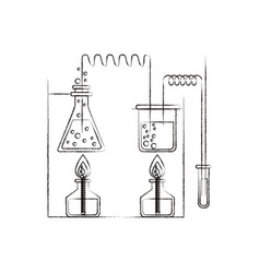 Sketch blurred silhouette of chemical laboratory vector