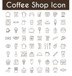 Set of black coffee and tea icons vector