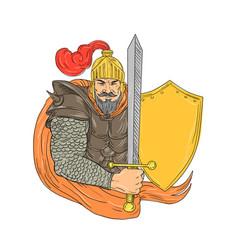 Old knight sword shield drawing vector