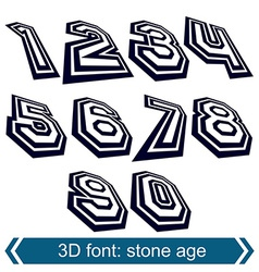 3d retro numbers in rotation stylish numeration vector