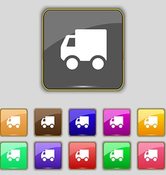 Delivery truck icon sign set with eleven colored vector