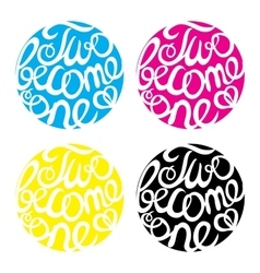 Lettering element in four colors for wedding vector