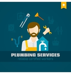Plumber flat icon vector