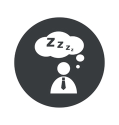 Monochrome round sleeping person icon vector