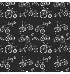 Cute doodle bicycles on white background vector