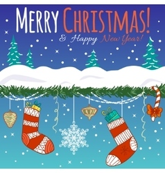 Greeting card with christmas decoration gifts vector