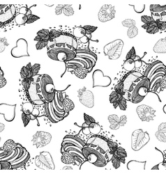 Cakes cherries and strawberries seamless pattern vector
