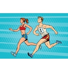 Man woman athletes running track and field summer vector