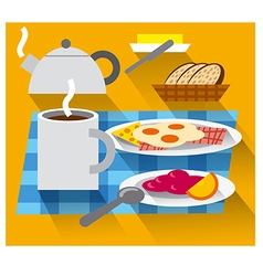 Breakfast with coffee and fried eggs vector