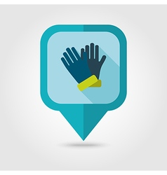Rubber garden gloves flat pin map icon vector
