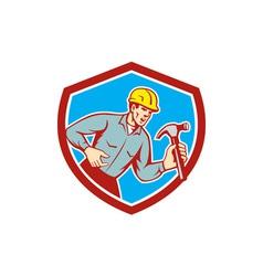Builder Carpenter Shouting Hammer Shield Retro vector image vector image