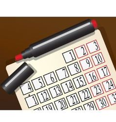 calendar and a red marker vector image vector image