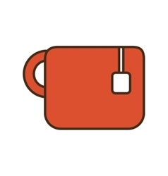 Cartoon red mug tea hot drink office vector