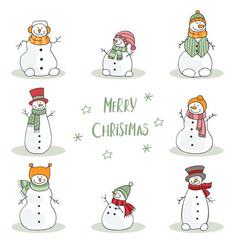 Christmas card with funny snowmen vector