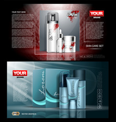 Digital red and blue skin care cream vector