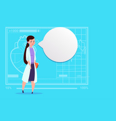 Female doctor with chat bubble medical clinics vector