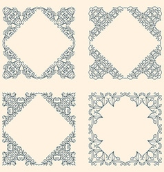 Floral Frame Mono Line Style Design Template vector image
