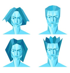 Four abstract polygon portraits male and female vector