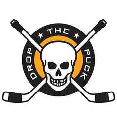 Hockey emblem with skull and crossed hockey sticks vector image vector image