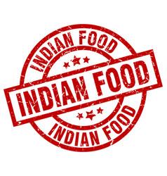 Indian food round red grunge stamp vector