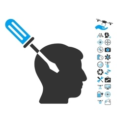 Intellect screwdriver tuning icon with copter vector