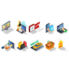 Isometric ecommerce elements collection vector
