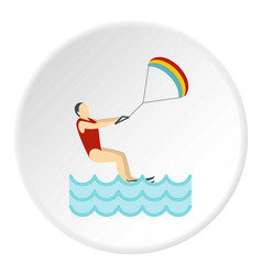 Kitesurfing icon circle vector