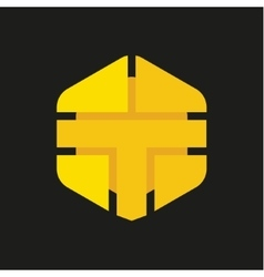 Logo Letter T in the form of abstraction yellow vector image vector image