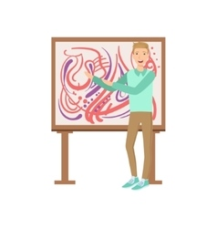 Man standing next to abstract painting creative vector