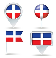 Map pins with flag of dominican republic vector
