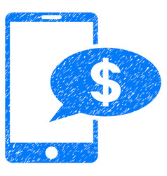 Mobile financial message grunge icon vector