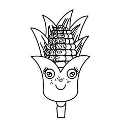 Monochrome silhouette cartoon of corn with vector