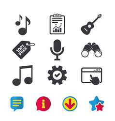 Music icons microphone acoustic guitar vector