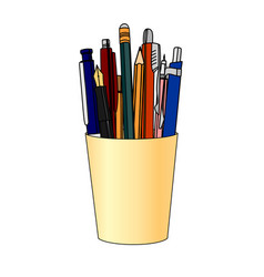 Pencils and pens in a yellow cup vector