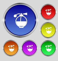 Perfume icon sign round symbol on bright colourful vector
