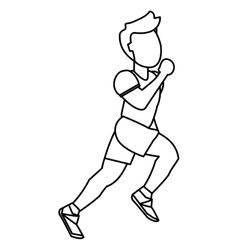 Person running outline vector