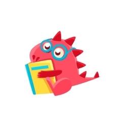 Red dragon reading a book vector