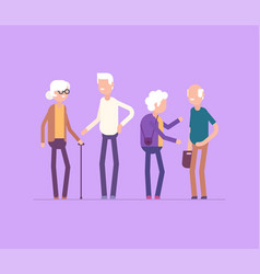 Retired people meeting - modern flat design style vector