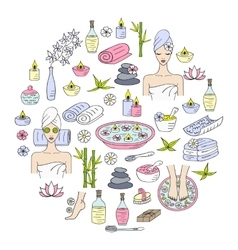 Spa hand drawn doodle icons vector
