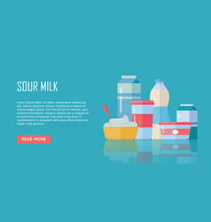 Traditional dairy products from sour milk vector