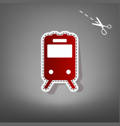 Train sign red icon with for applique vector