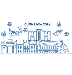 usa new york queens winter city skyline merry vector image vector image