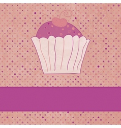 Vintage cupcakes card vector