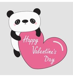 Kawaii panda baby bear happy valentines day text vector