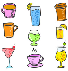 various style drink set doodles vector image