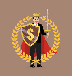 Man with shield sword and golden wreath vector