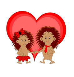 A couple of funny cartoon hedgehogs with a heart vector