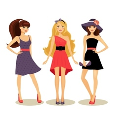 Fashion spring girls vector